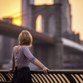 Young woman looking at New York City