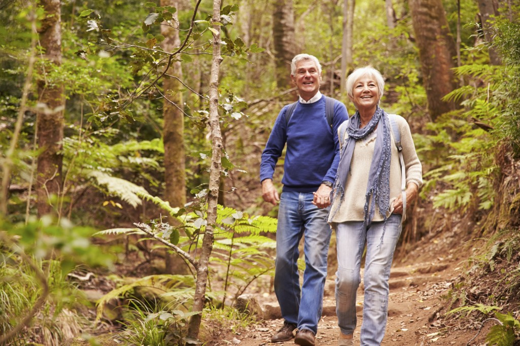 Senior couple walking together in a forest