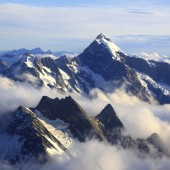 andscape of Mountain Cook Peak with mist from Helicopter, New Zealand