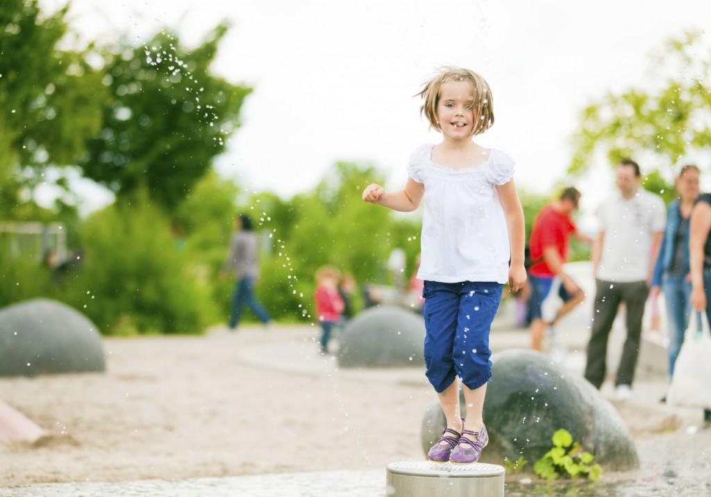 little girl having fun on the playground