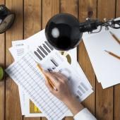Business woman analyzing statistics