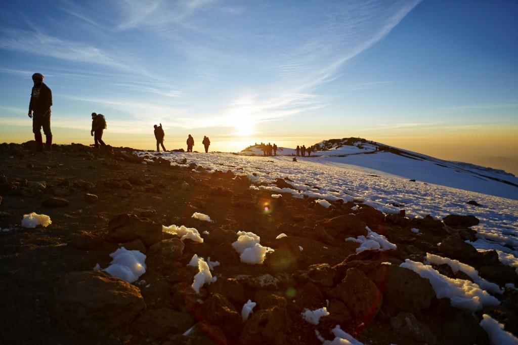 Hiking up Mt Kilimanjaro,