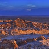 Barren landscape of the Moon valley, Atacama desert, Chile