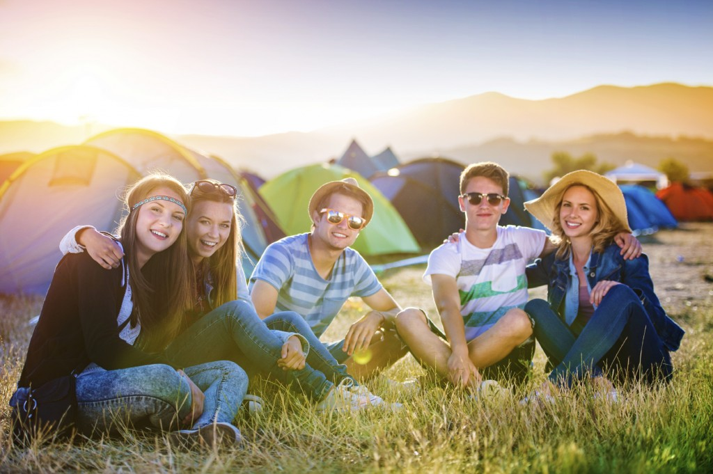 Group of teens at summer festival