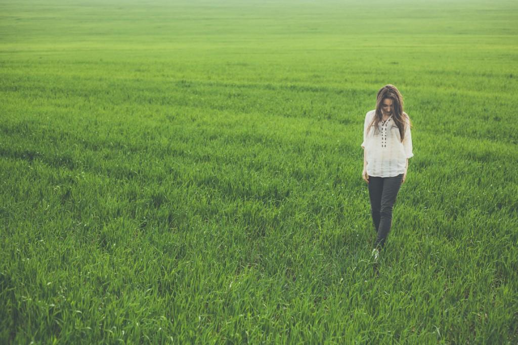 girl in green field