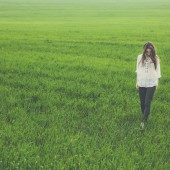 girl in green field