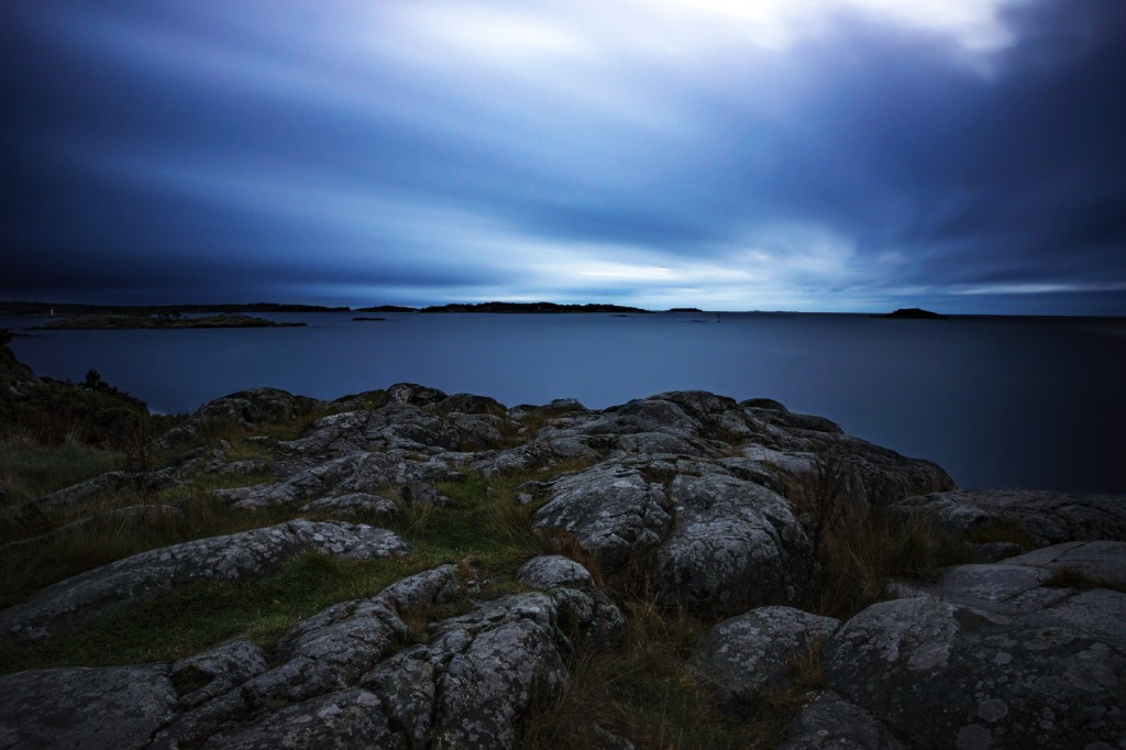 View from cliff by the baltic sea archipelago in dusk. Longe exposure