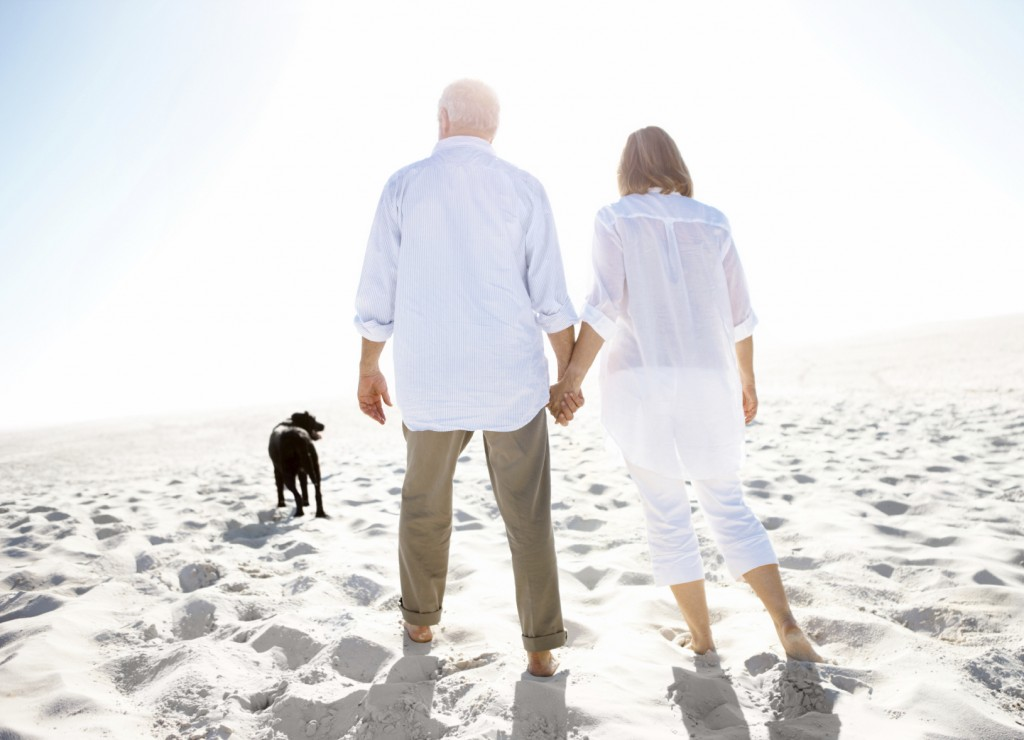 A mature couple holding hands and walking on the beach with their dog