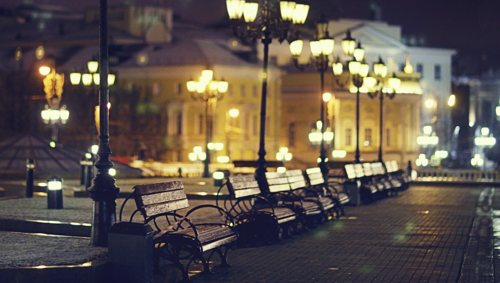 benches night city