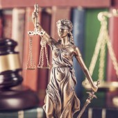 Law concept, statue, gavel, scale and books