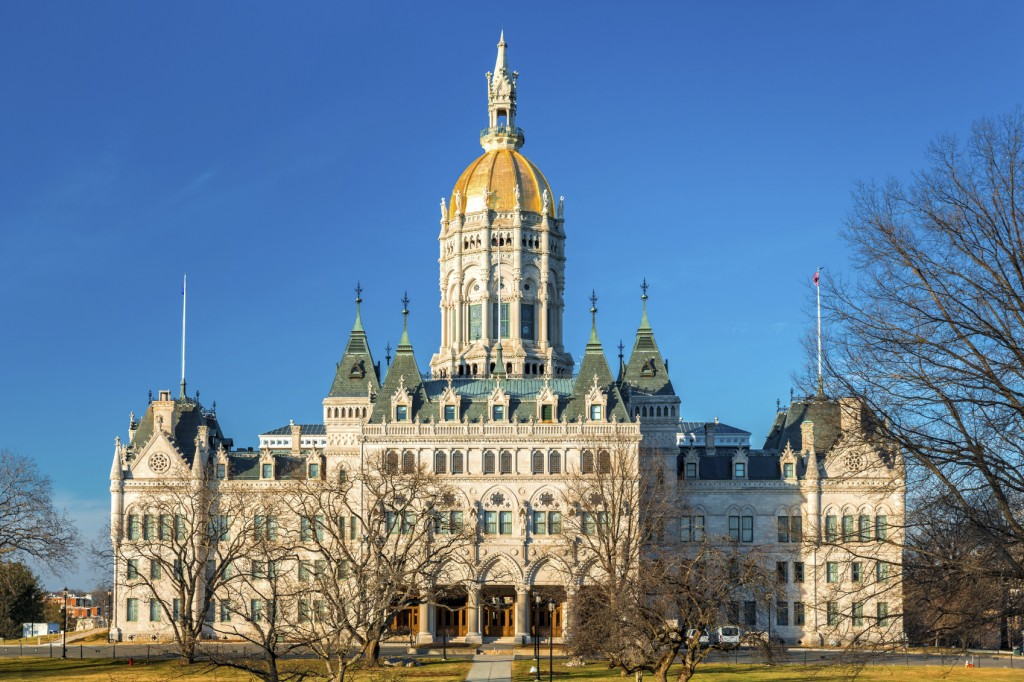 Connecticut State Capitol on a sunny afternoon.