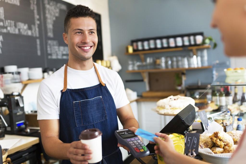 teenager working in coffee shop