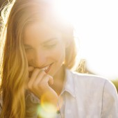 Charming girl smiling
