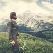 Man Traveler bearded walking outdoor