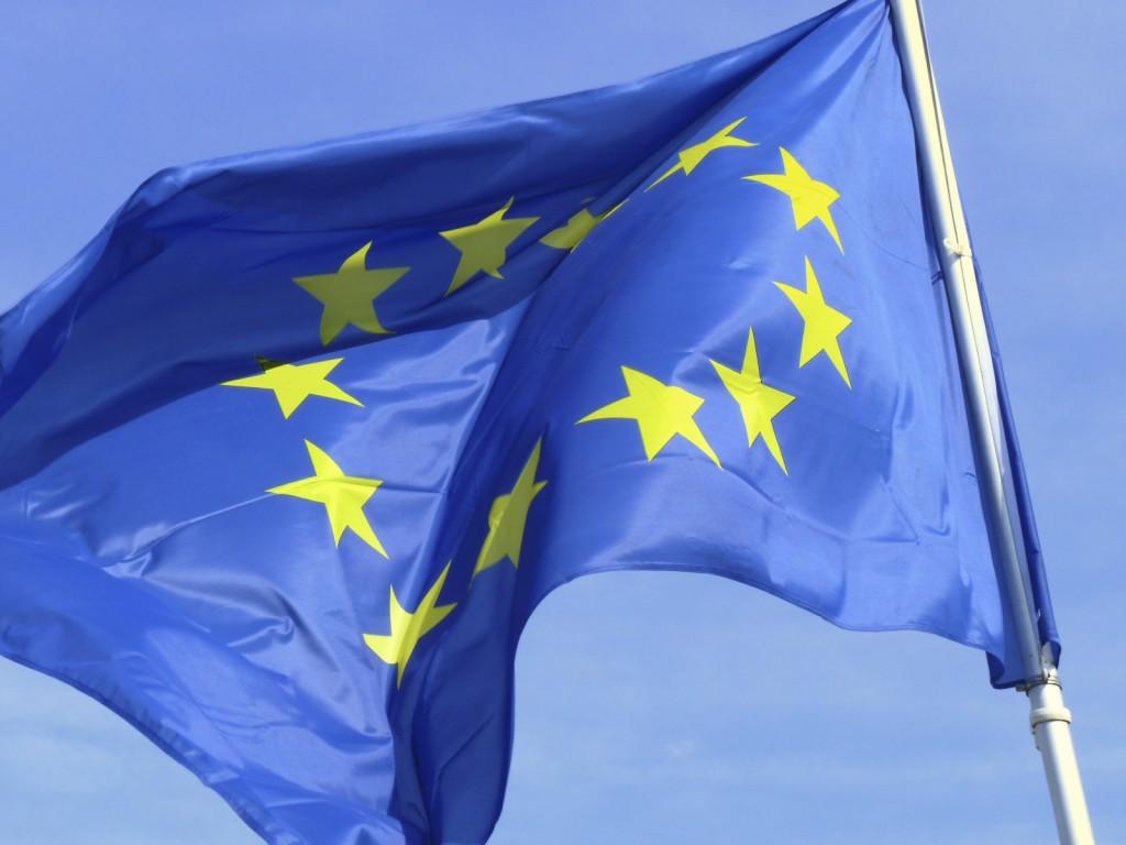European flag waving on a pole.