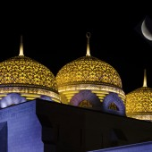 Domes at mosque with moon