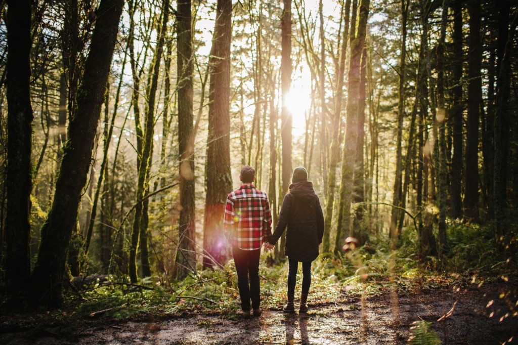 Couple holding hands in the forest