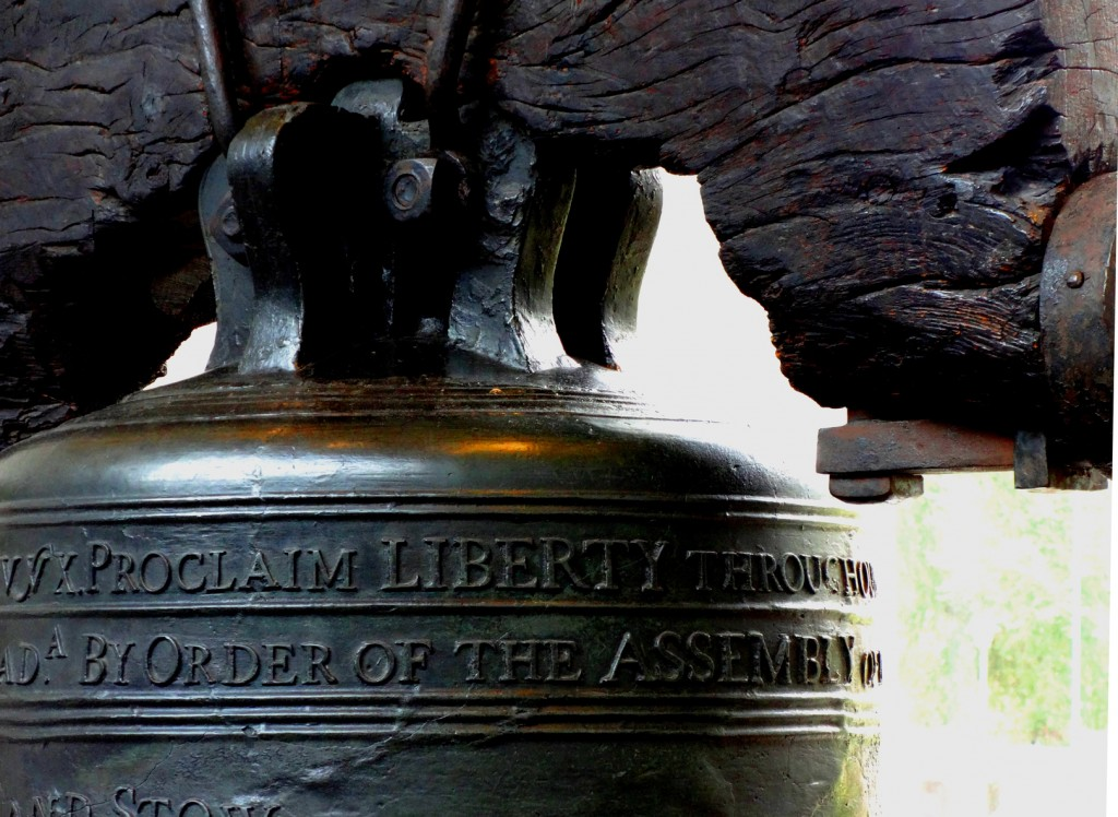 A close up of the Liberty Bell in Philadelphia Pennsylvania