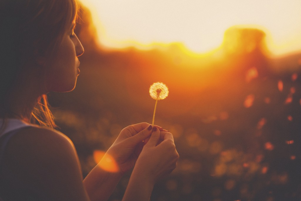 Young woman relaxing in a dandelion field
