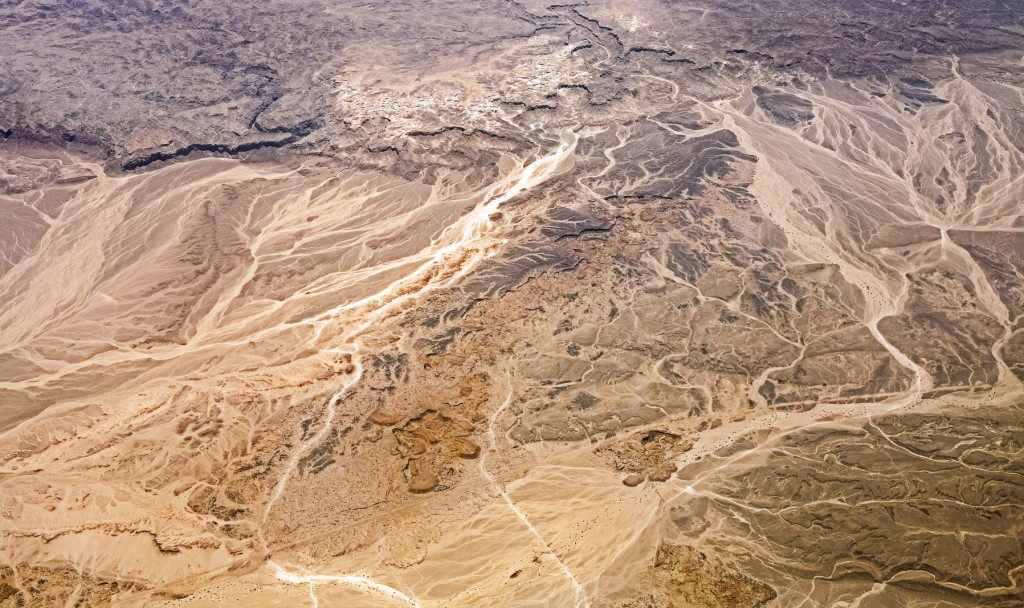 Aerial view of desert, nature background or texture