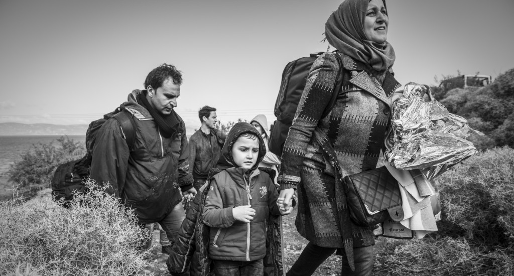Refugee family arriving in Europe - Lesbos, Greece