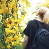 Woman admiring nature while hiking in the forest. Focus on beautiful yellow flowers in the foreground.