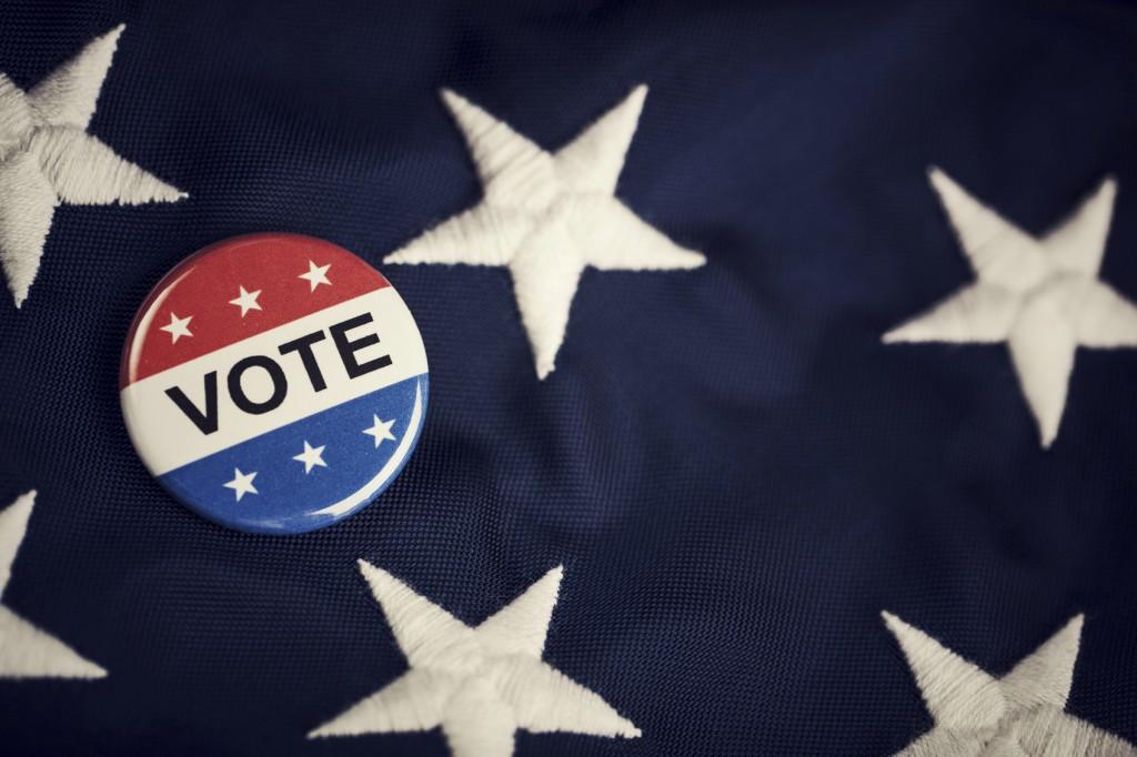 Vote button pin on flag