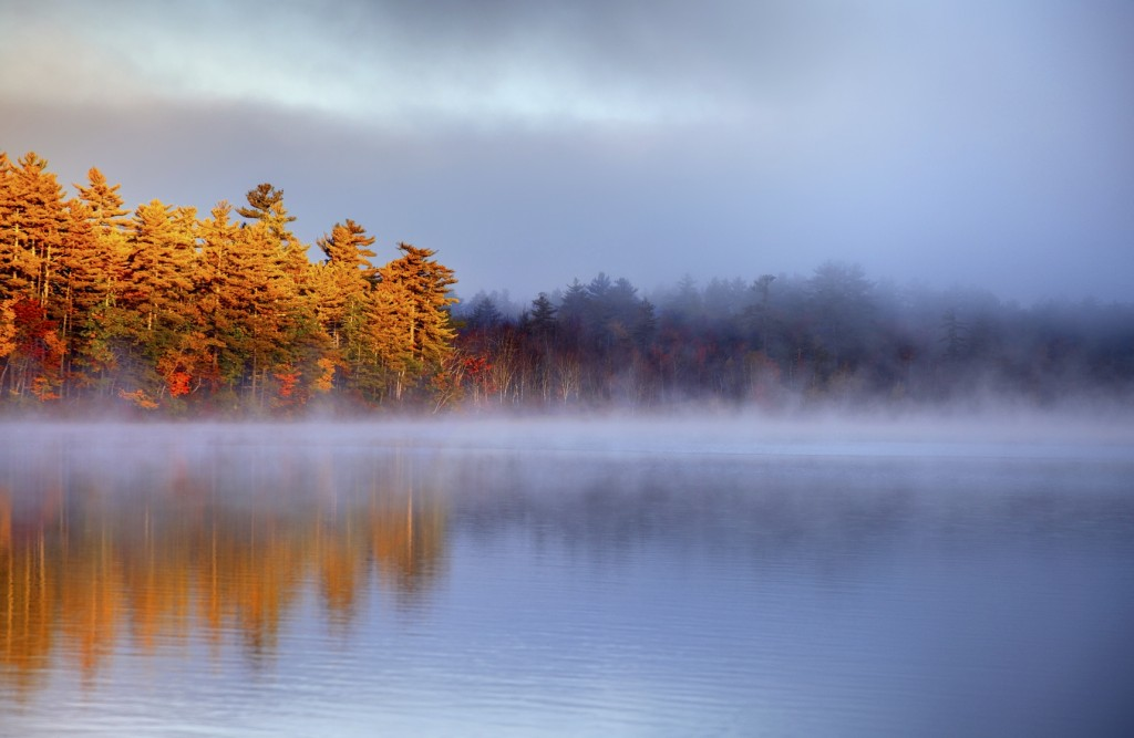 Autumn light illuminating a foogy lake in the White Mountains National Forest in New Hampshire