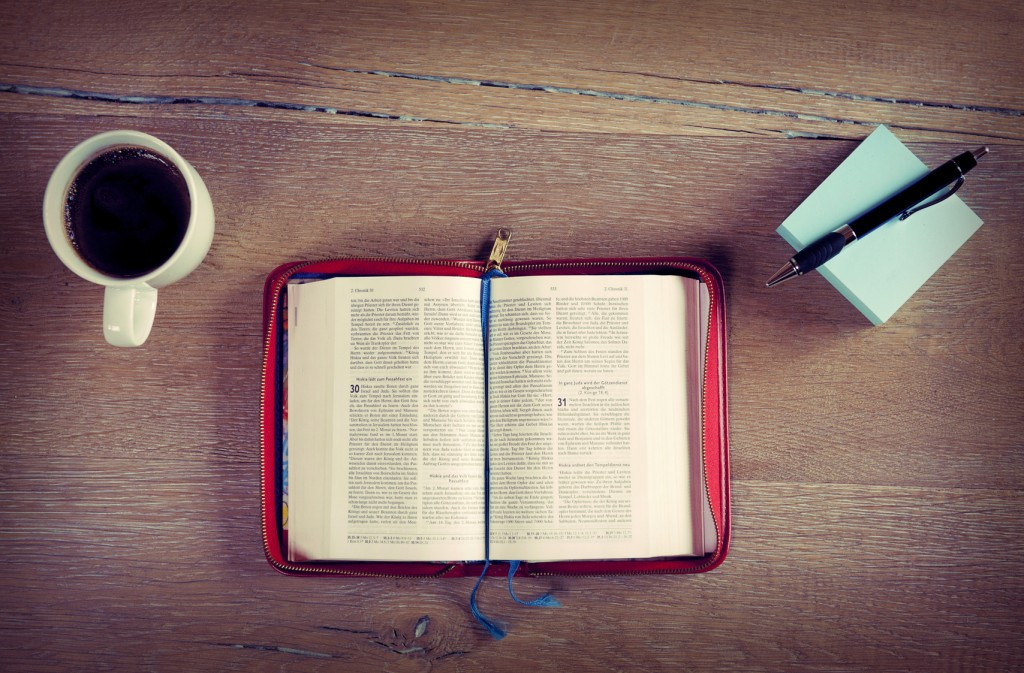 Bible at the table, cross processed