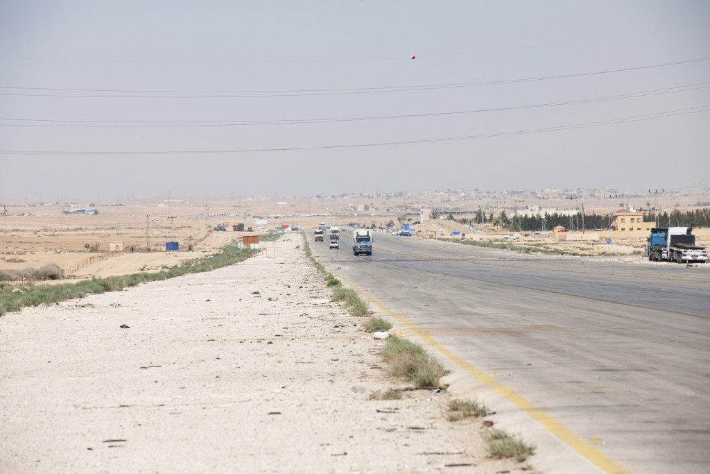 Road in Iraq. 300 Km to Baghdad.