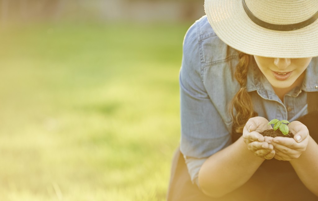 Cropped shot of a woman holding a handful of soil with a budding plant