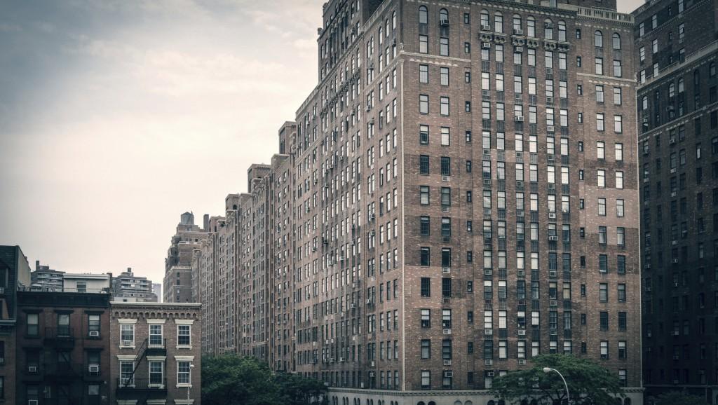 Brick building apartment blocks in New York City