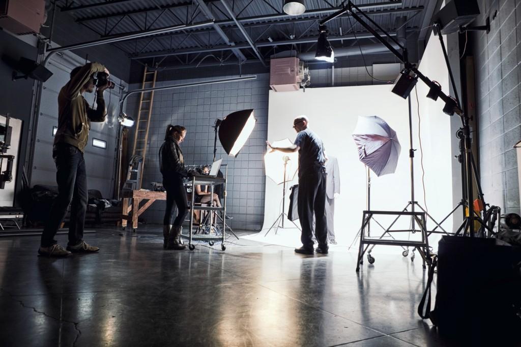 Film crew working on a set.