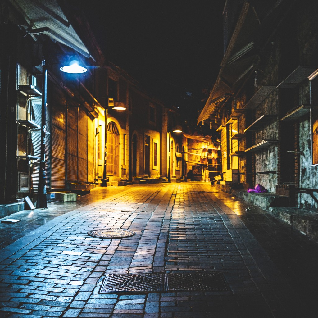 Old town shopping streets by night.