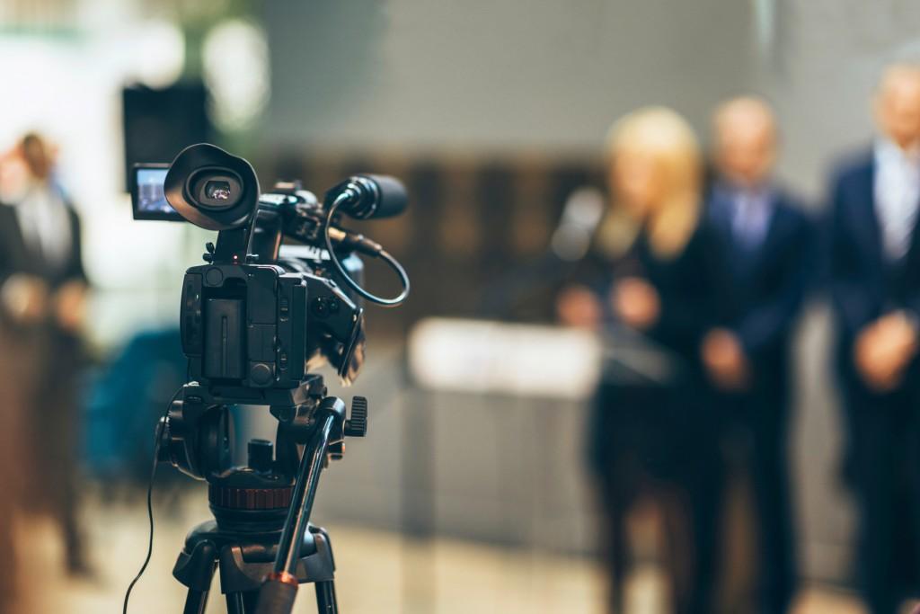 Media camera at publicity event