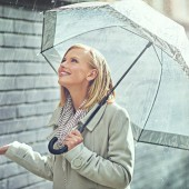 Cropped shot of an attractive young woman walking in the rain