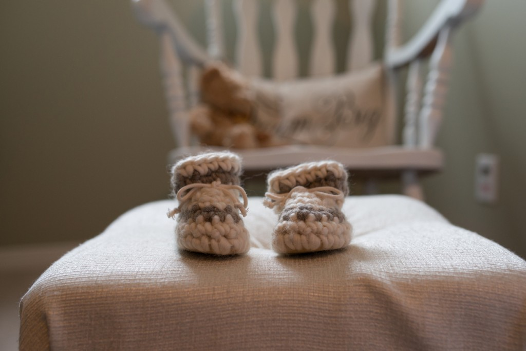 Newborn wool slippers with Rocking chair Background color