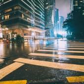 zebra cross of street at night