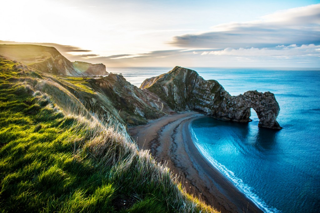 View of Rock formation Durdle Door on the Dorset Coast.