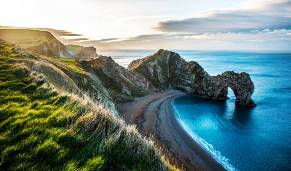 View of Rock formation Durdle Door on the Dorset Coast.