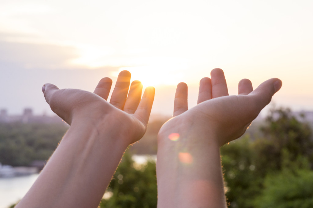 Hand of woman reaching to towards sky. Color toned image, hands in sky holding something, Two open empty hands, Reaching, Human Hand, Sky, Cloud - Sky, Aspirations, Ideas, Sunlight, Sun