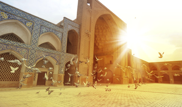 Pigeons in The Masjid-i Jami, Isfahan, Iran. Against sunset background.