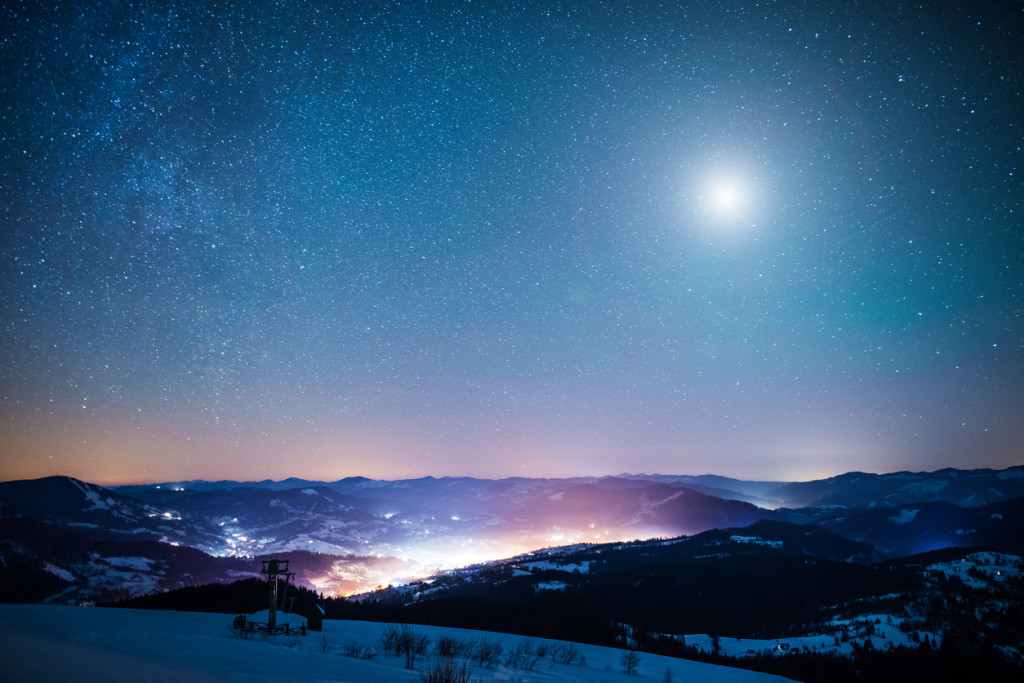 Snowy view in Carpathian Mountains, winter landscapes series.