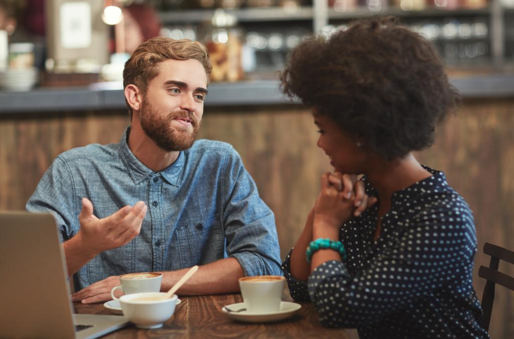 Shot of a young couple enjoying a coffee date