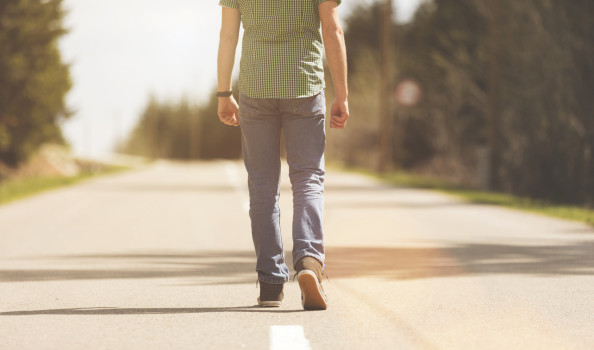 Young man on the road.