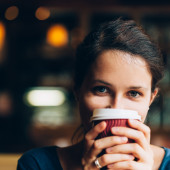 Woman sitting at cafe -