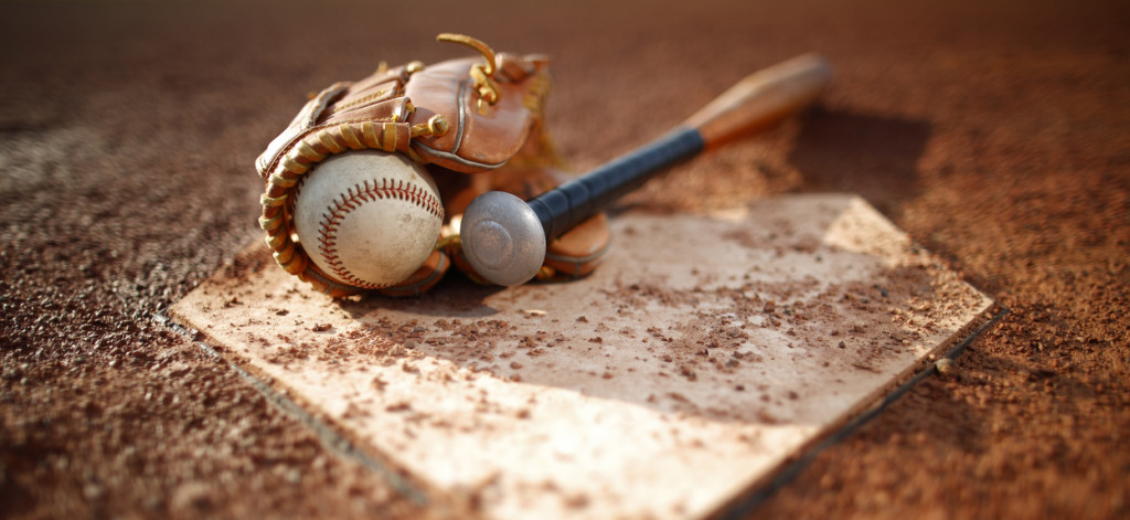 Baseball and glove Bat at Home Plate
