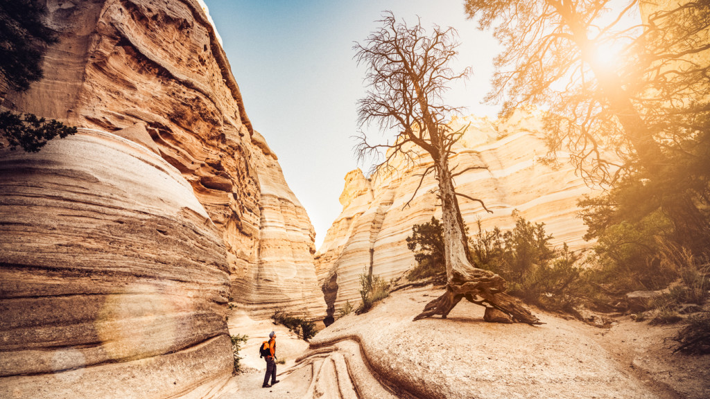Backpacker hiking at Kasha-Katuwe Tent Rocks National Monument in New Mexico. USA.