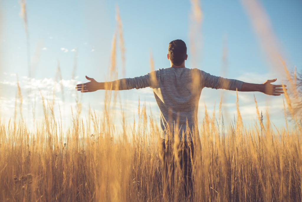 Rear view of a young man standing in the prairie, looking to the sky with arms outstretched