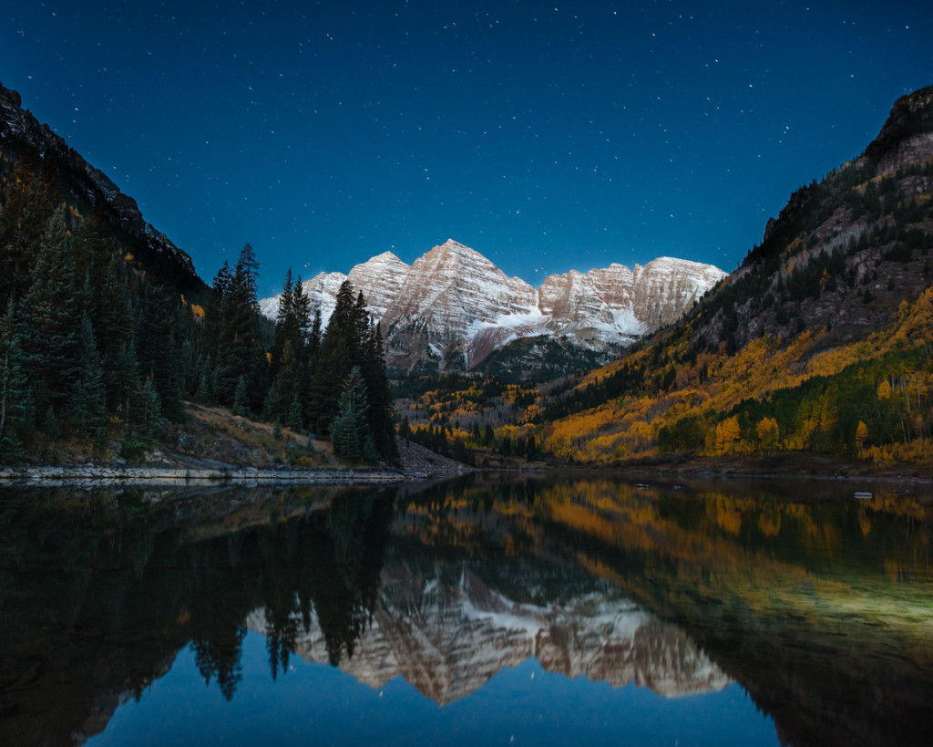 Maroon Bells Nightscape with fall colors.